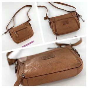 Fossil Brown Leather Crossbody Bag organiser